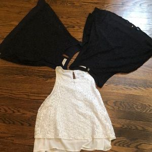 white, navy blue, and black lace tank top blouses